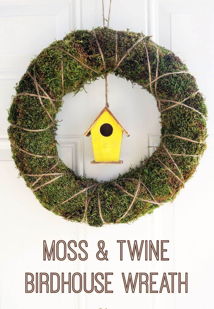 DIY Moss Twine Birdhouse Wreath Tutorial