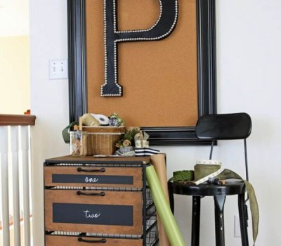 DIY Nailhead Trim Leather Upholstered Letter Wall Art