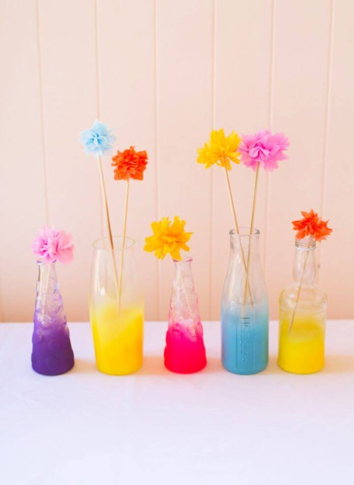 DIY Neon Coloured Ombre Spray Painted Bottles