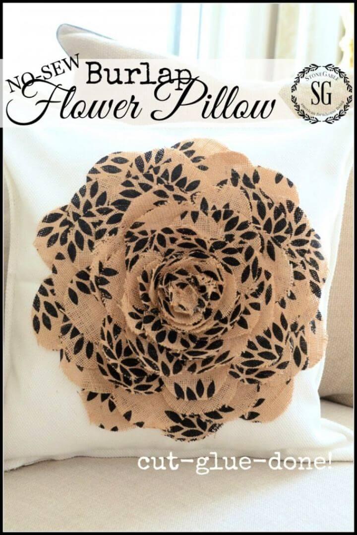 DIY No Sew Burlap Flower Pillow For Home