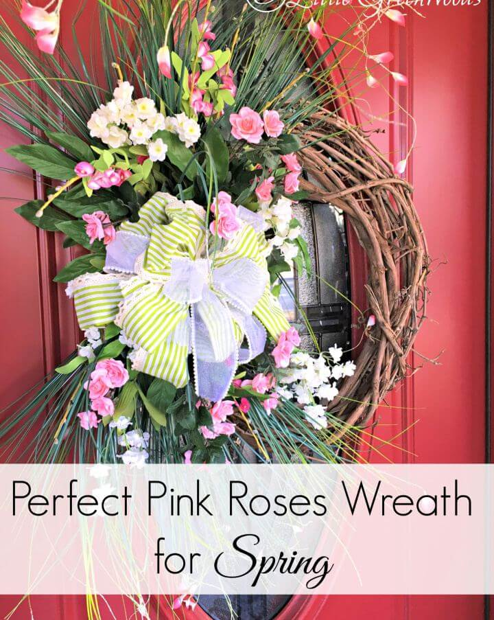 DIY Perfectly Pink Roses Door Wreath For Spring