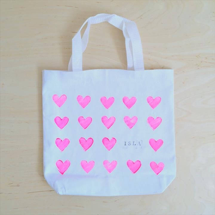 personalized stamped canvas tote bag