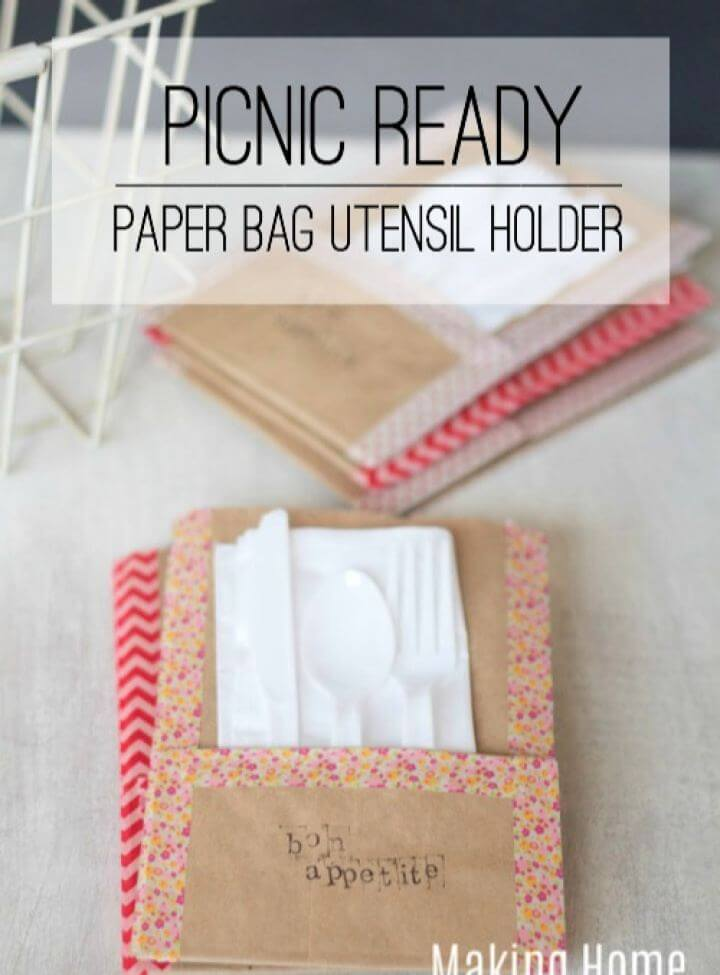 DIY Picnic Ready Paper Bag Utensil Holders