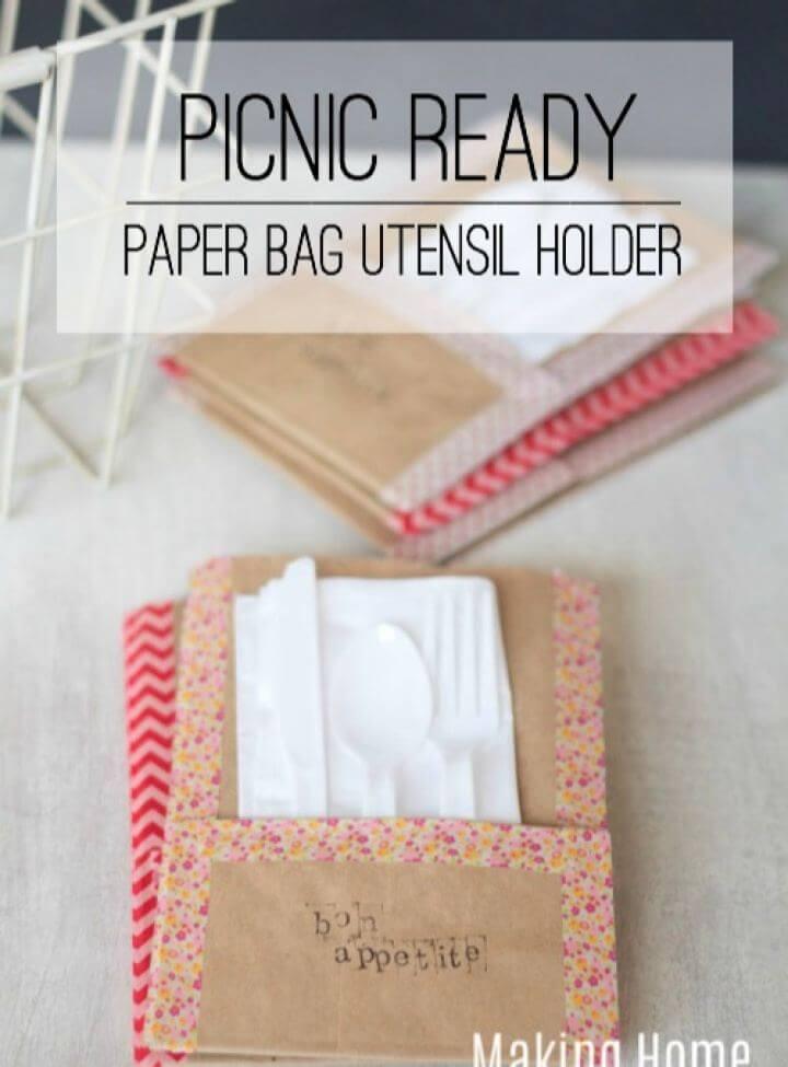 DIY Picnic Ready Paper Bag Utensil Holders