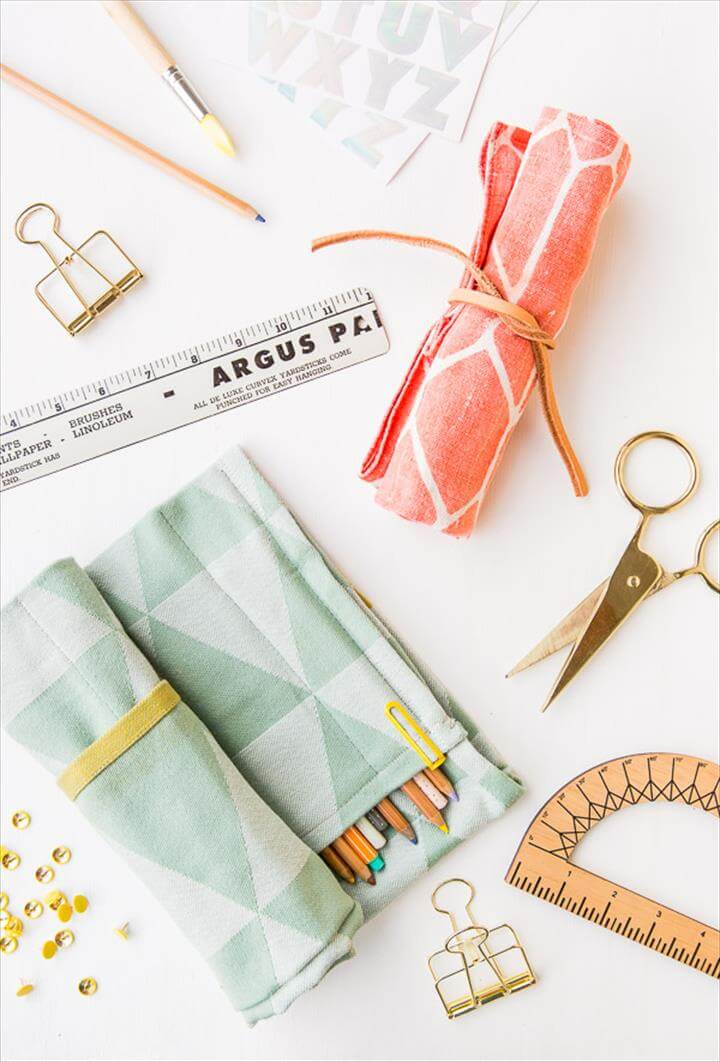 DIY Rollup Organizer Upcycled Tea Towel