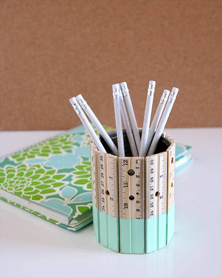 DIY Ruler Pencil Holder Aqua