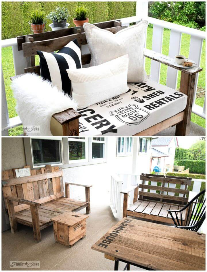 DIY Sign Stenciled Fabric For The Pallet Wood Chairs
