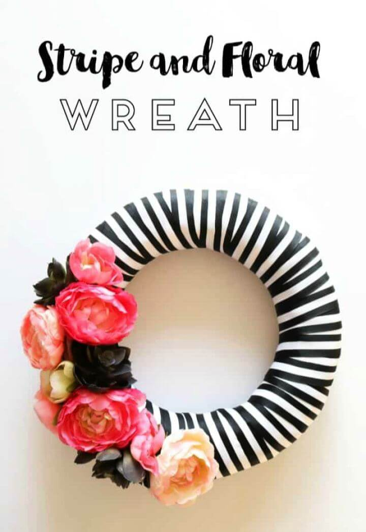 DIY Stripe And Floral Spring Wreath