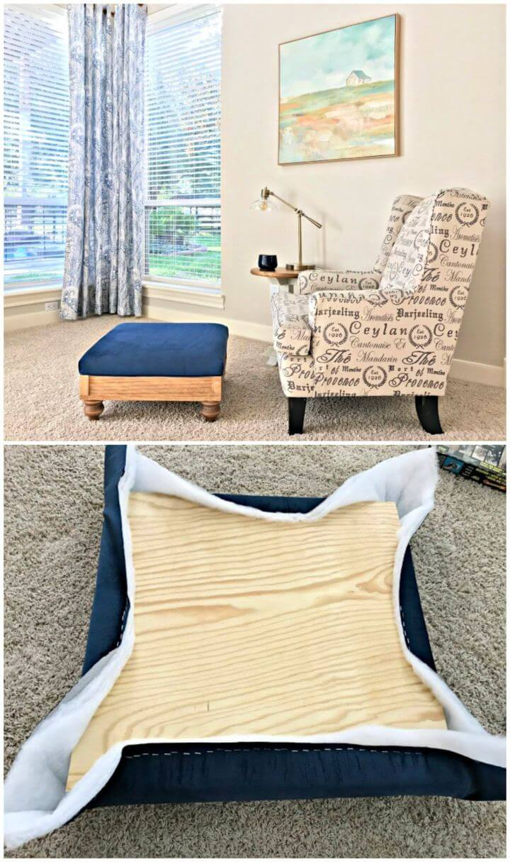 DIY Upholstered Ottoman Plans from Scratch For Living Room