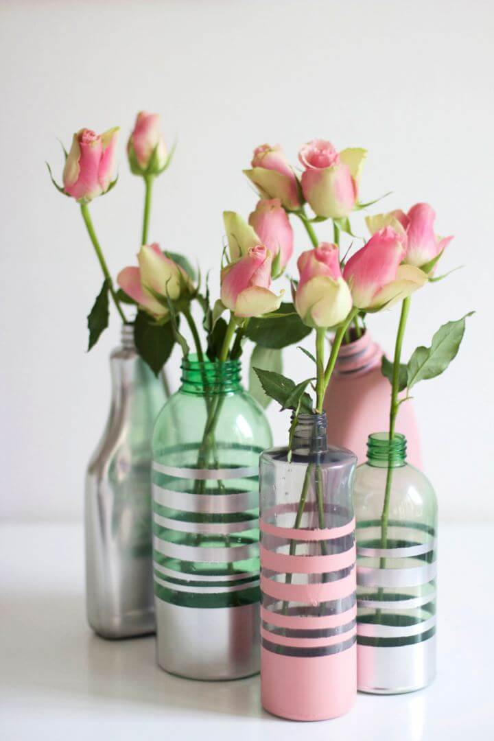 DIY Vases From Painted Bottles