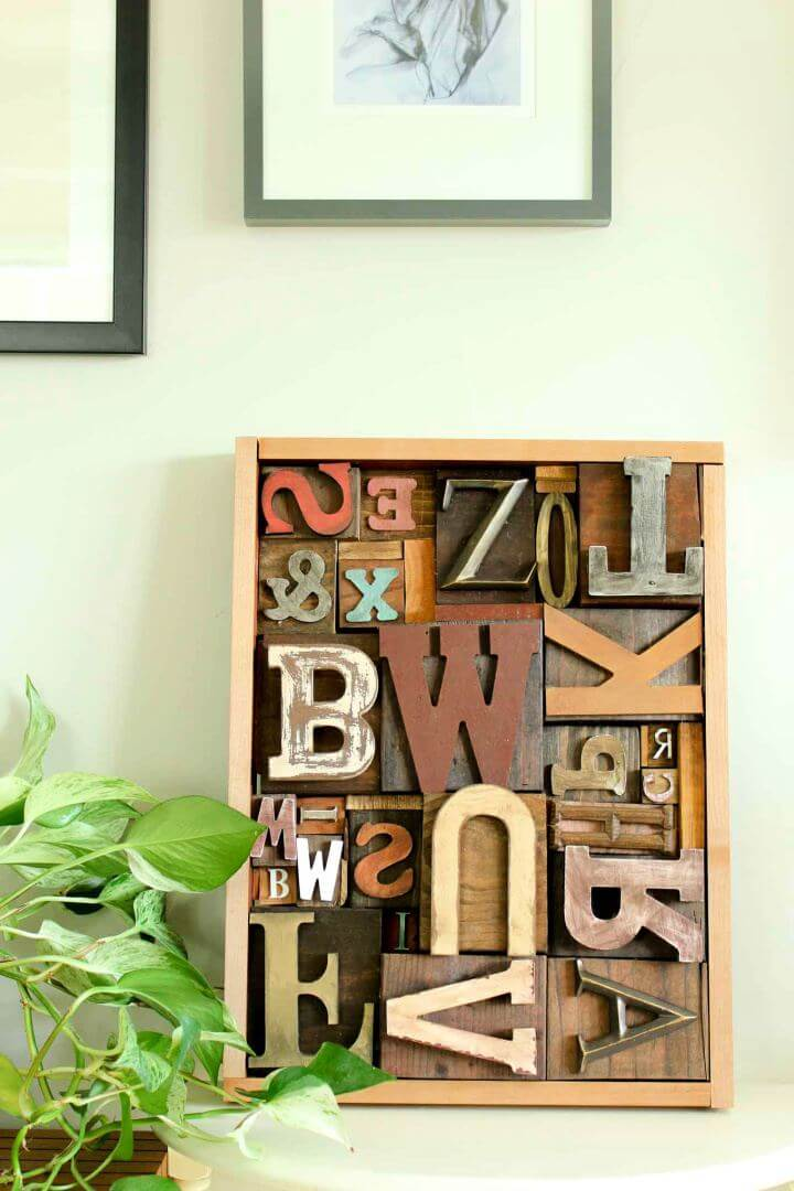 DIY Wall Art Idea With Faux Letterpress Print Blocks