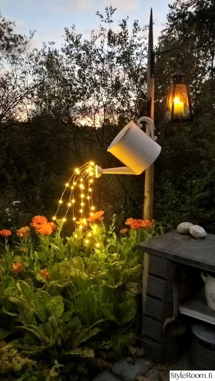 DIY Watering Can With Fairy Outdoor Lights