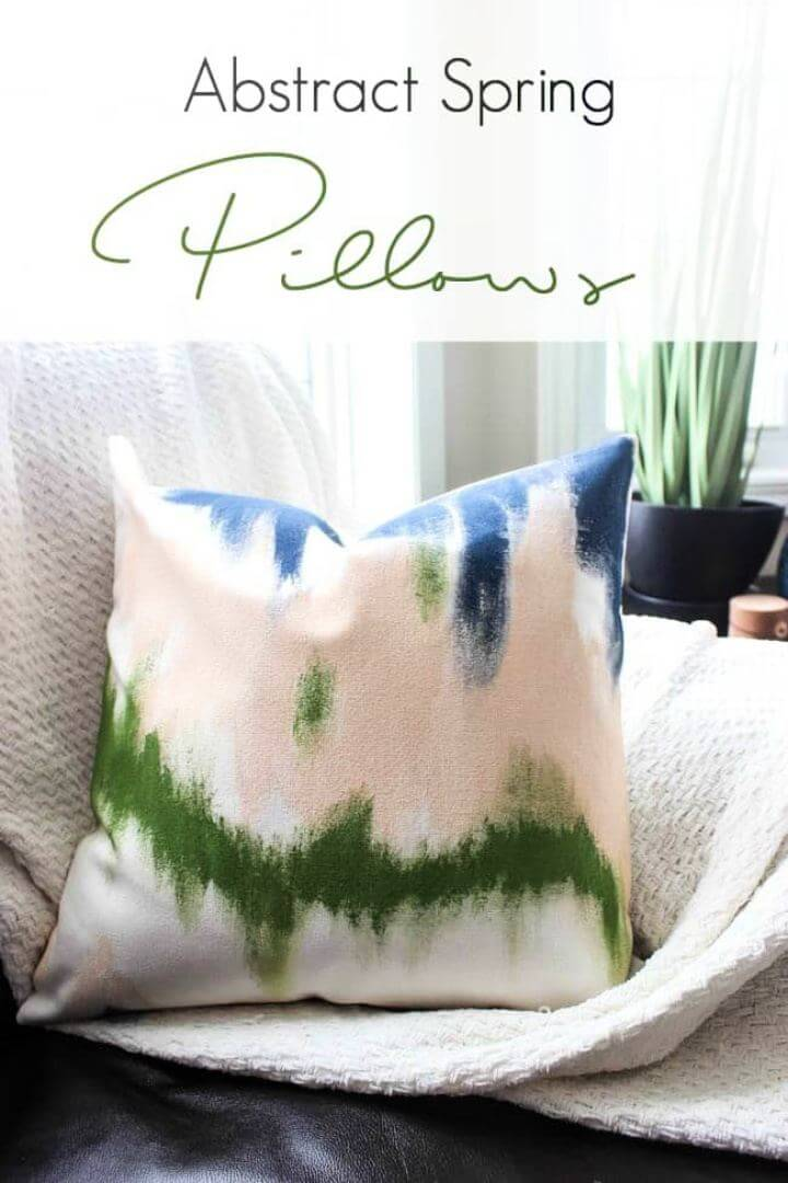 Easy DIY Abstract Spring Pillows For Living Room