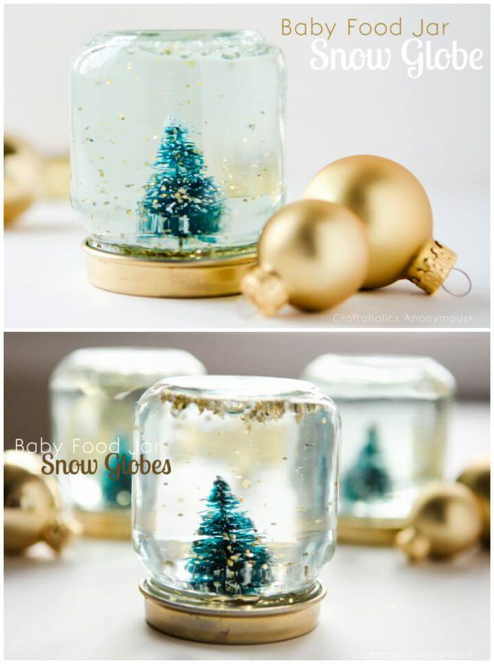 Easy DIY Baby Food Jar Snow Globes Tutorial