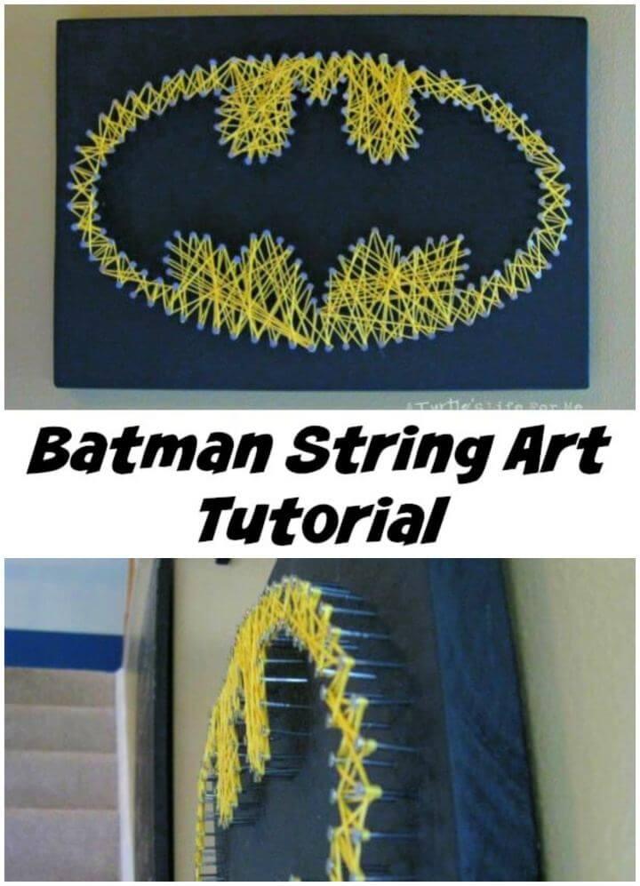 Easy DIY Batman String Nail Art