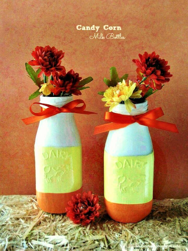 Easy DIY Candy Corn Milk Bottles Tutorial