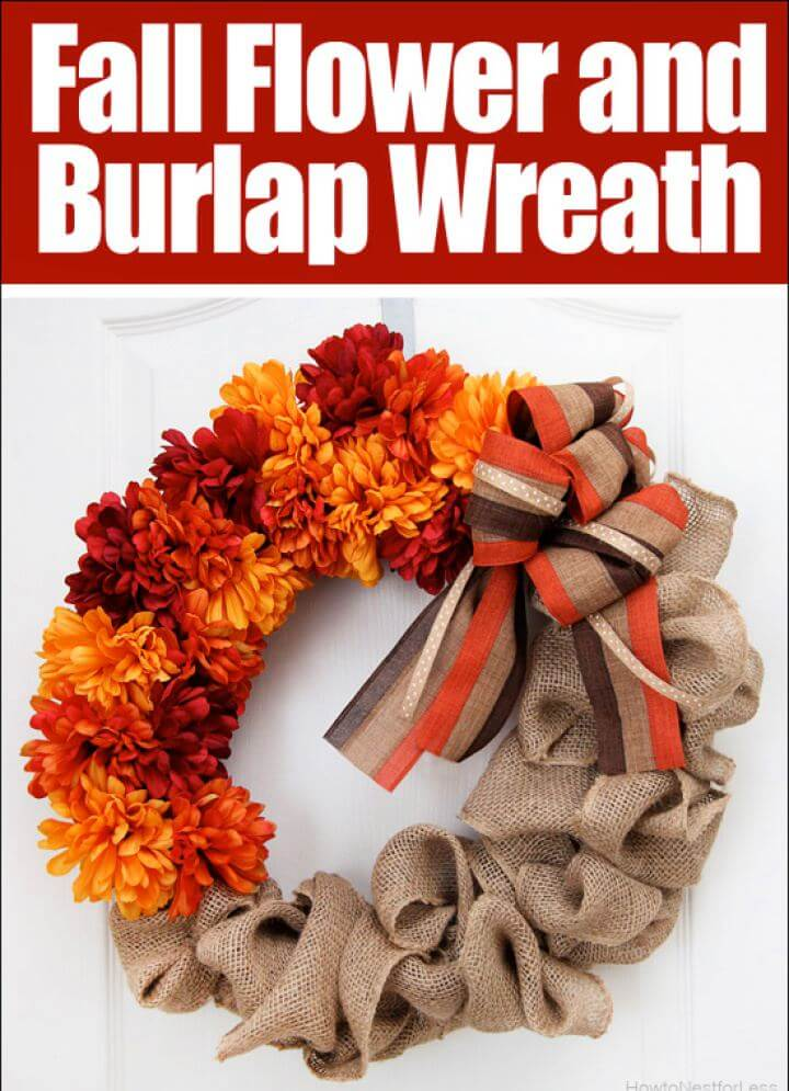Easy DIY Fall Burlap And Flower Door Wreath