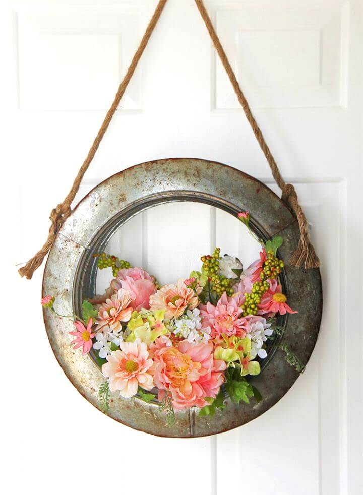 Easy DIY Farmhouse Style Tire Spring Wreath Tutorial