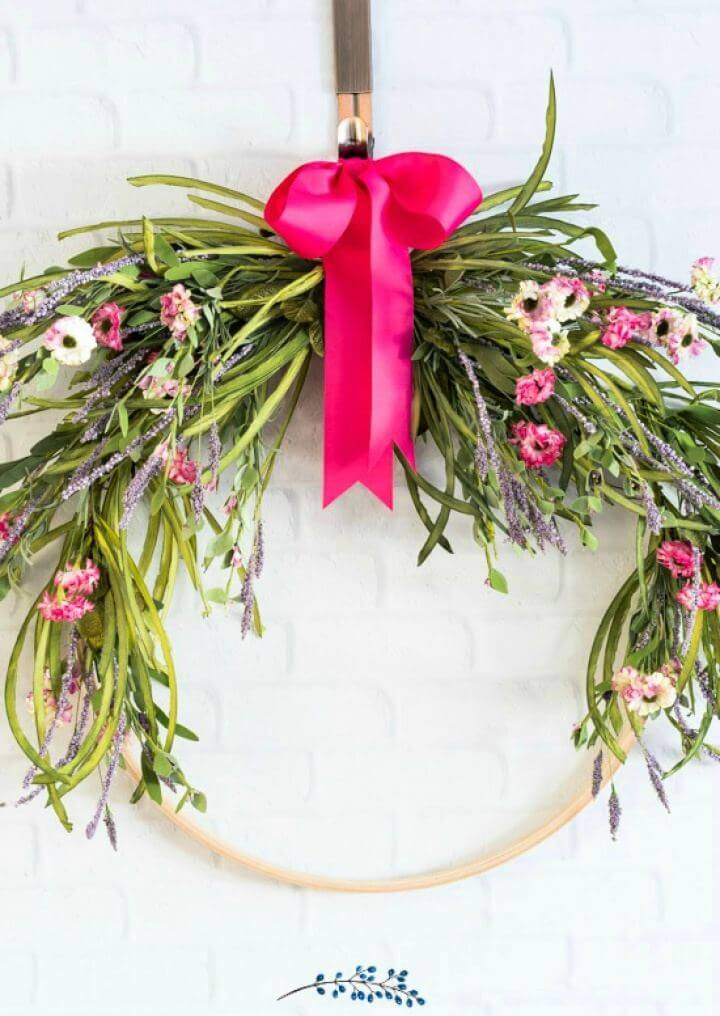 Easy DIY Floral Embroidery Hoop Spring Wreath