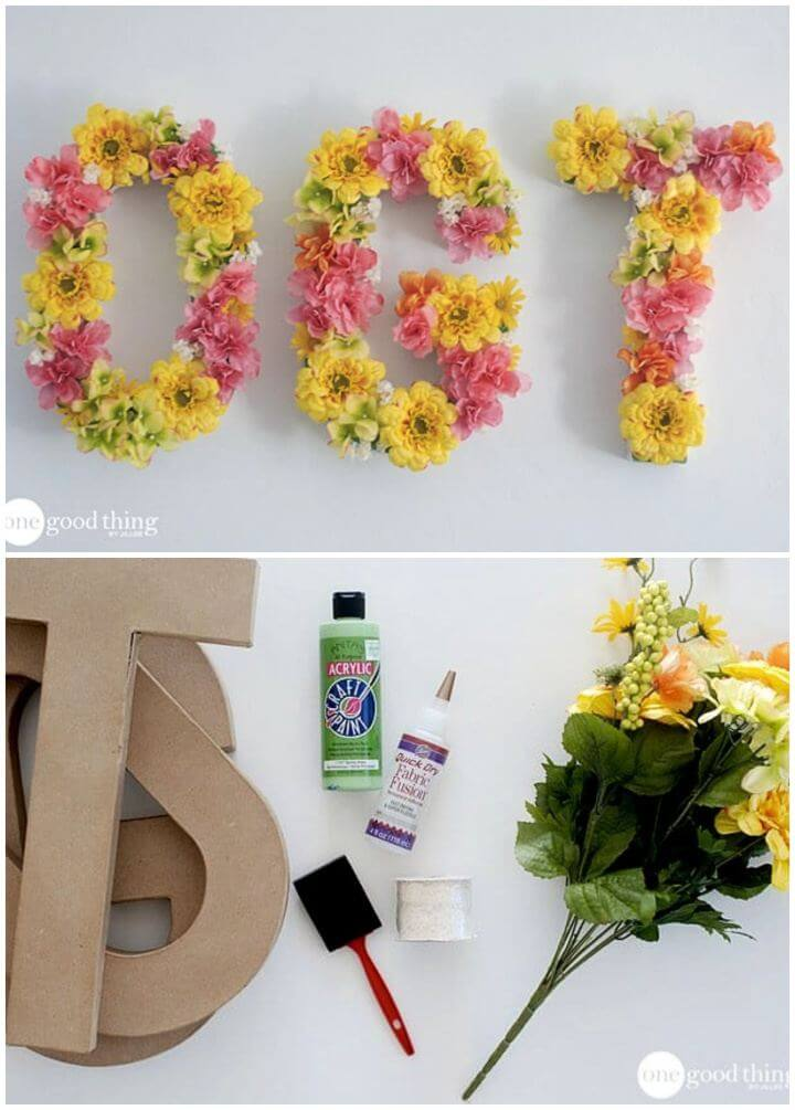Easy DIY Floral Letters Wall Art