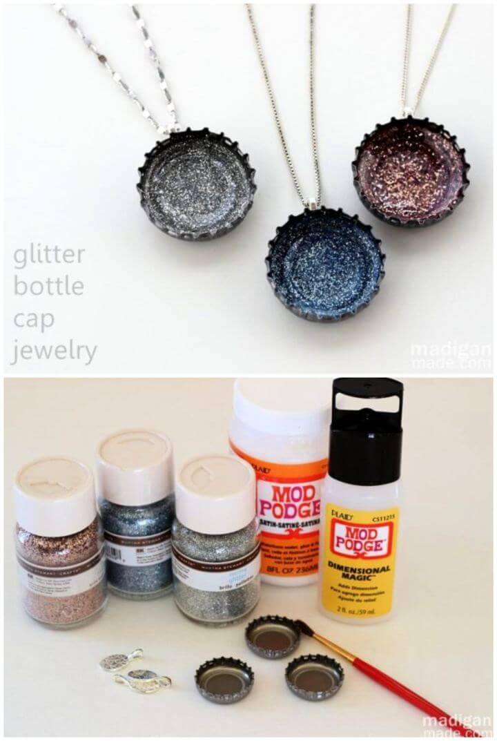 Easy DIY Glitter Necklaces From Bottle Caps