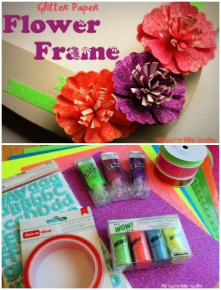 Easy DIY Glitter Paper Flower Frame