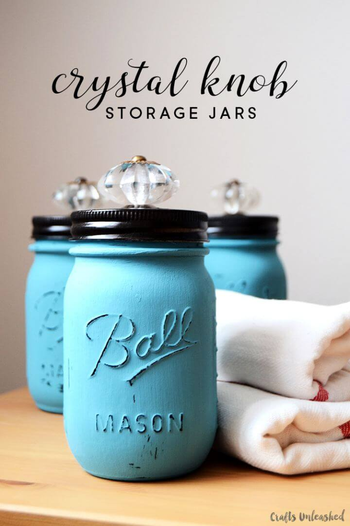 Easy DIY Jars with Decorative Crystal Knobs