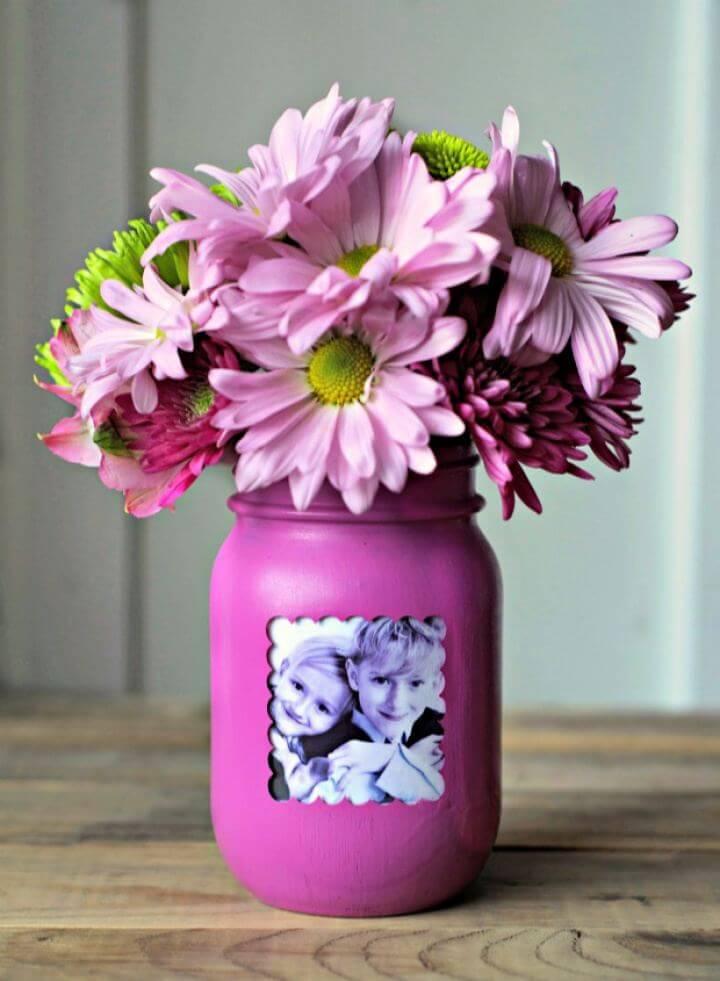 Easy DIY Mason Jar Picture Frame Vase