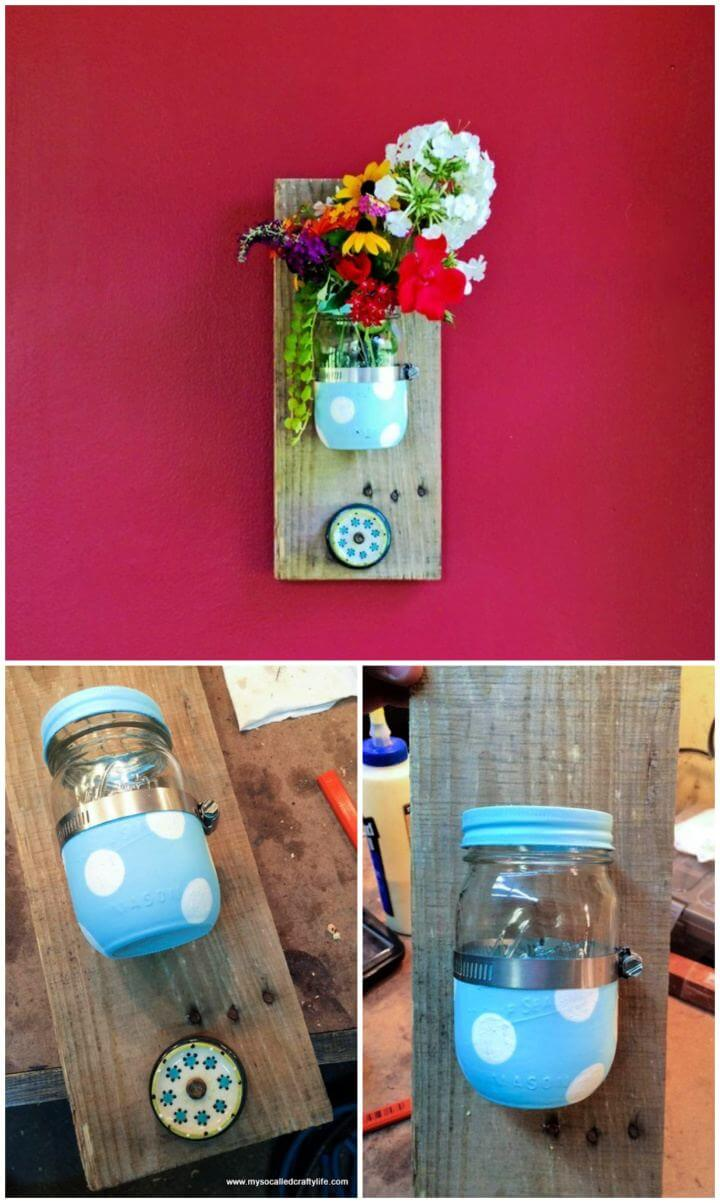 Easy DIY Mason Jar Reclaimed Wood Wall Hanging