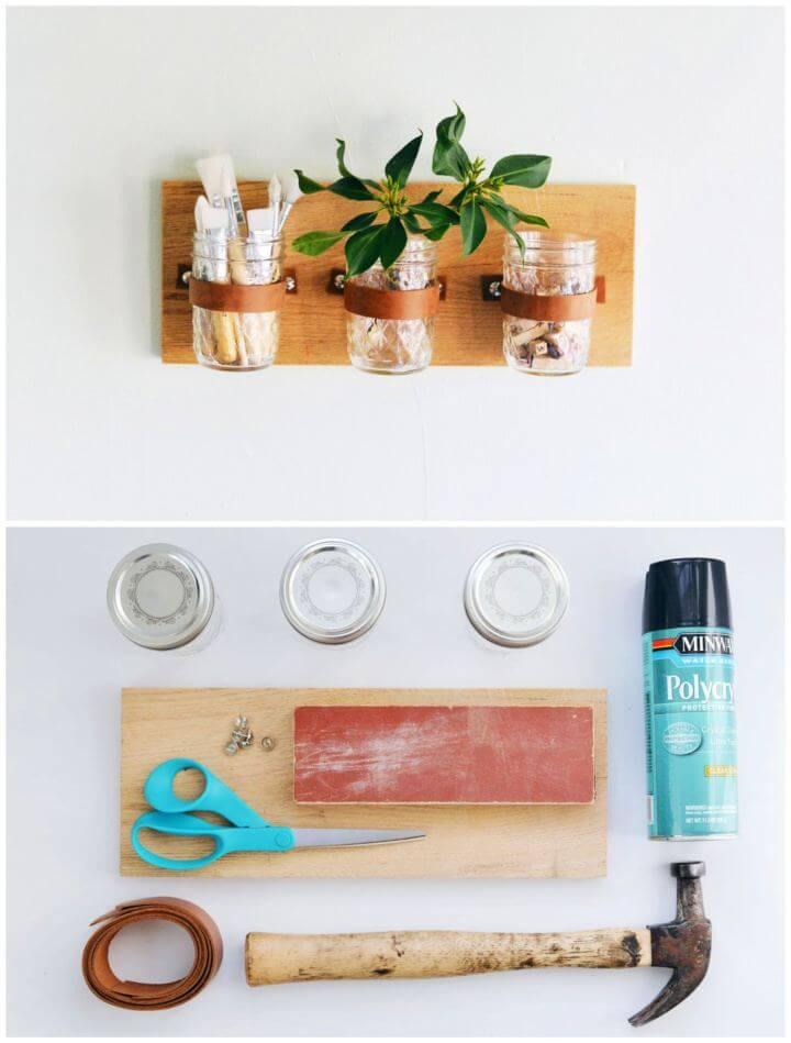Easy DIY Mason Jar Wall Hanging Organizer