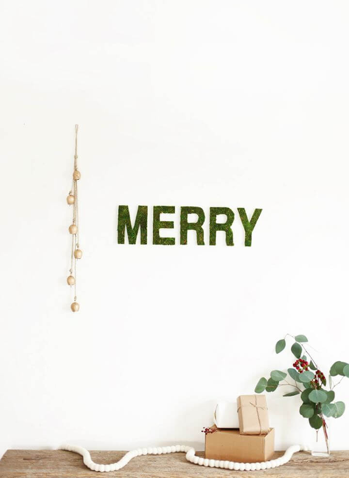 Easy DIY Merry Moss Wall Letters