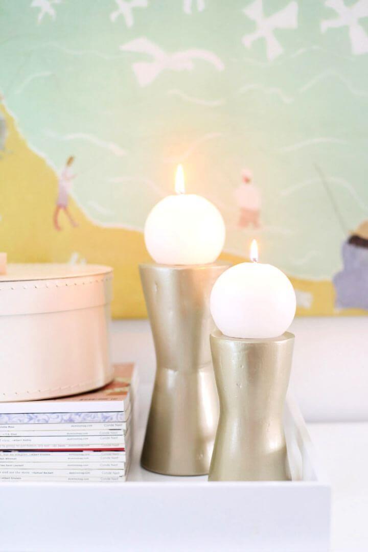 Easy DIY Modern Metallic Candle Holders