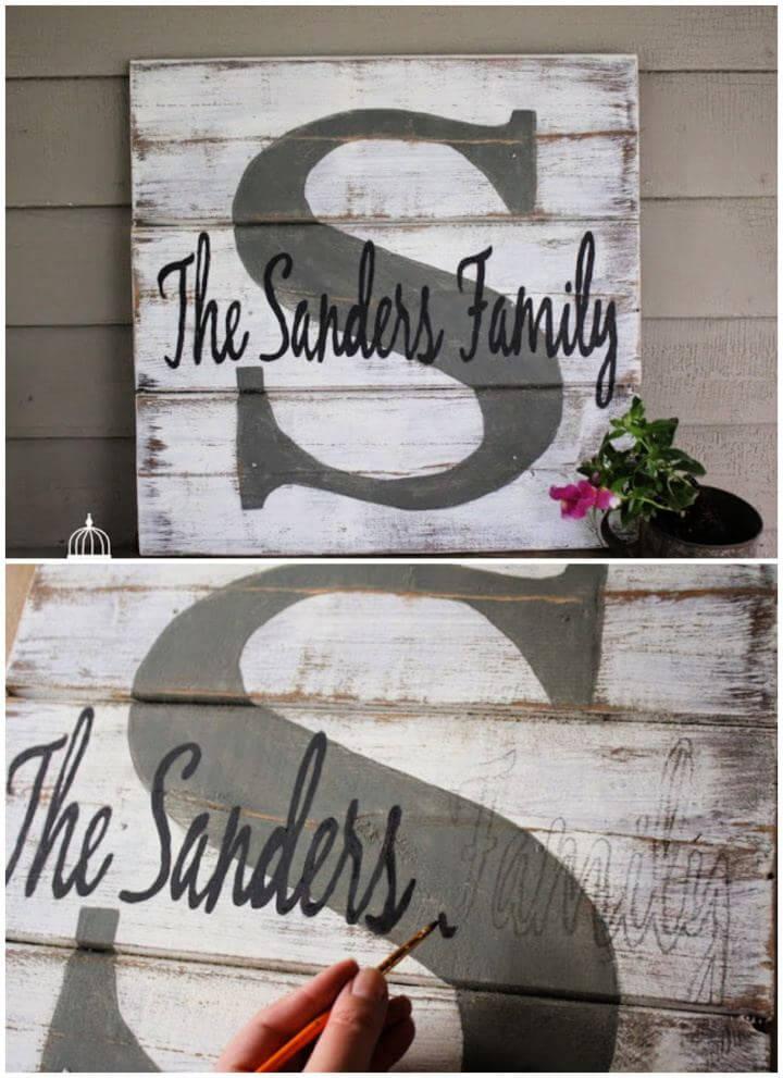 Easy DIY Monogram Pallet Family Name Sign