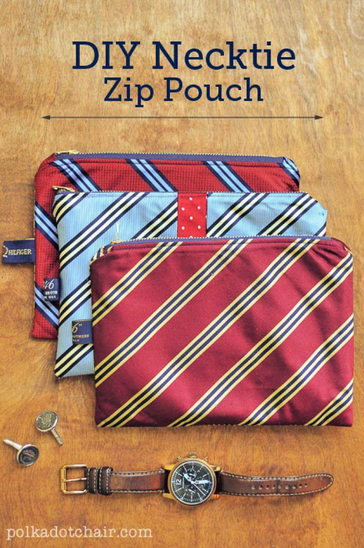 Easy DIY Necktie Zip Pouch Gift For Him