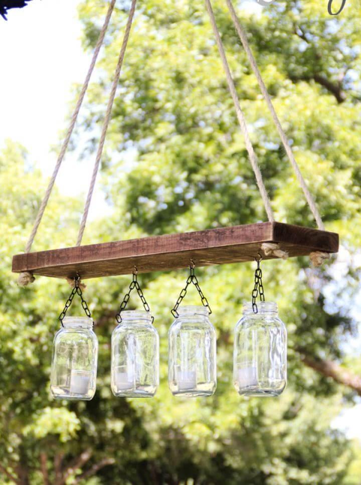 Easy DIY Outdoor Mason Jar Chandelier