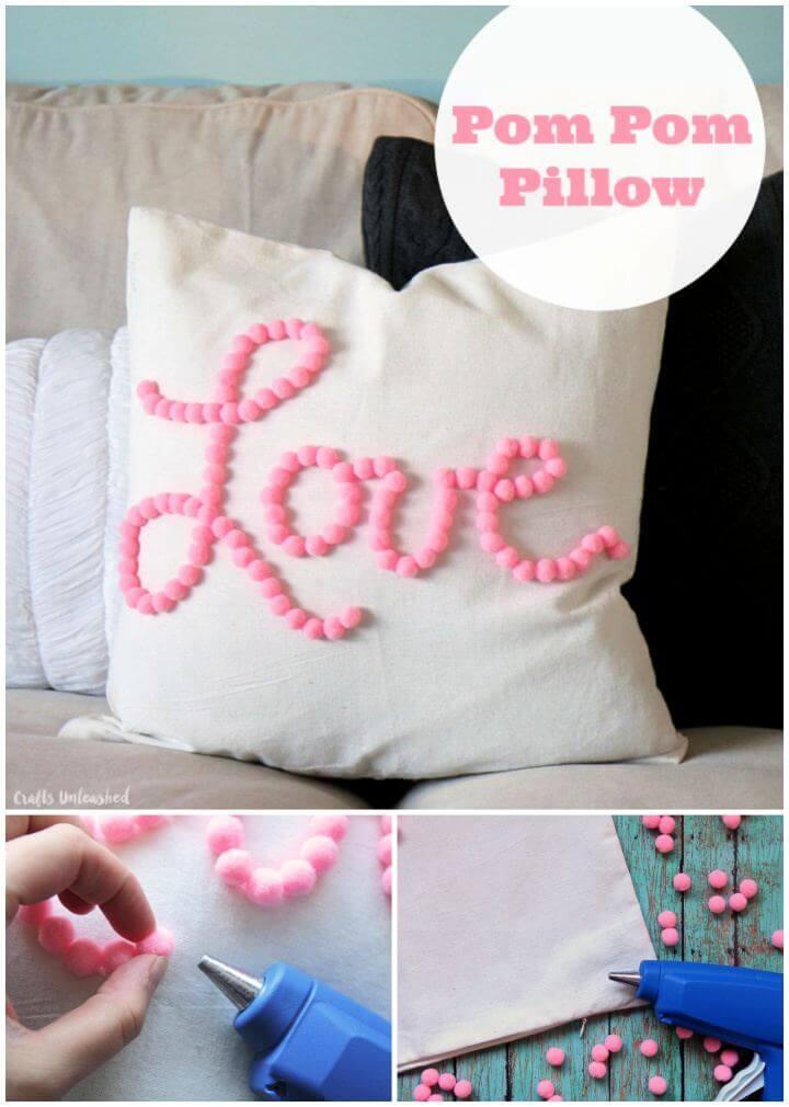 Easy DIY Pom Pom Pillow Tutorial