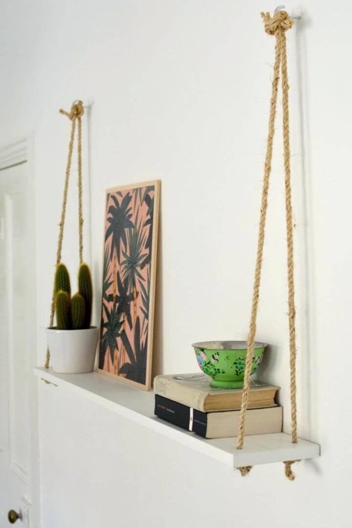Easy DIY Rope Shelf For Your Bedroom