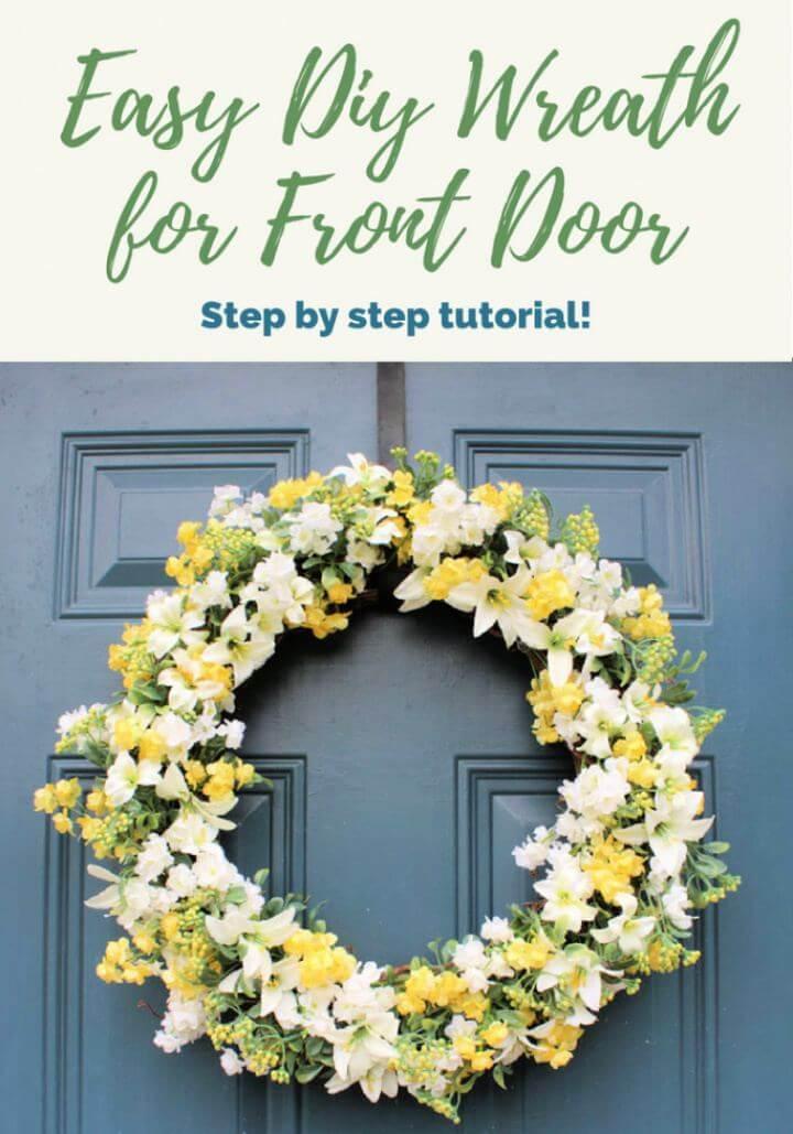 Easy DIY Spring Wreath For Front Door Tutorial