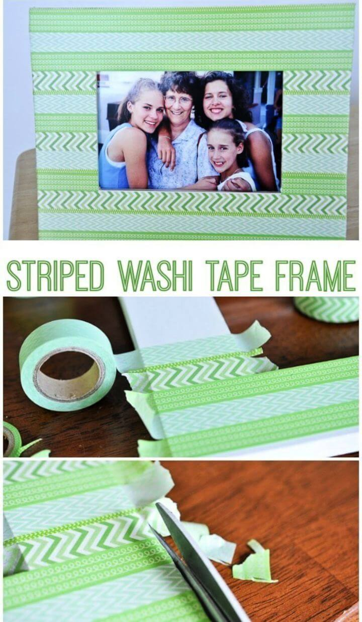 Easy DIY Striped Washi Tape Picture Frame Tutorial
