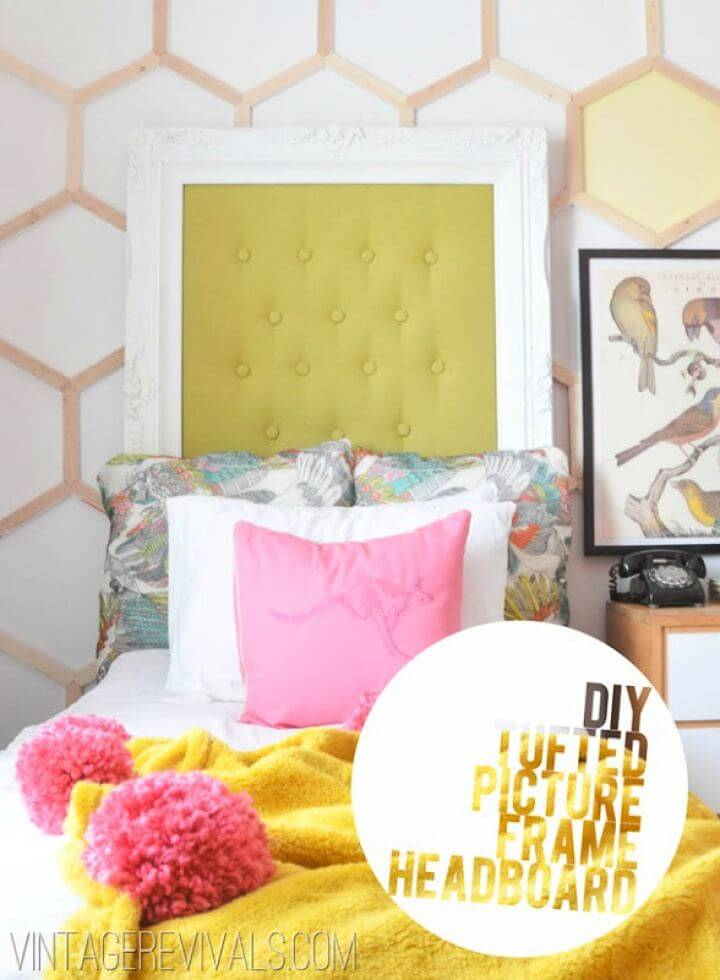 Easy DIY Tufted Picture Frame Headboard