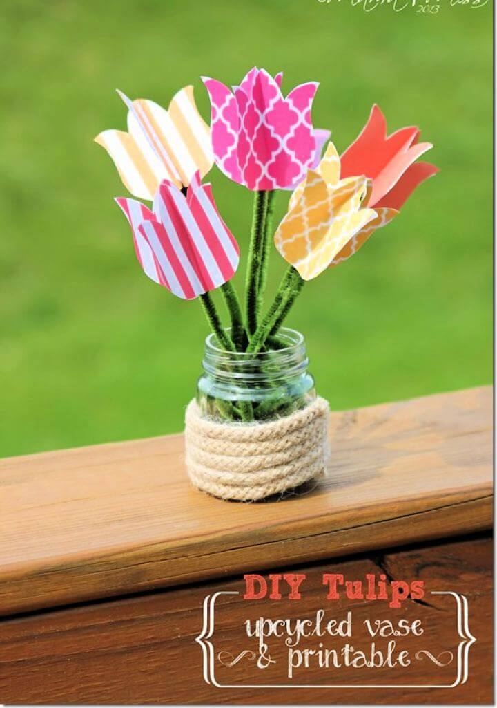 Easy DIY Tulips Upcycled Vase And Printable