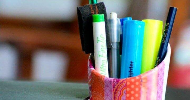 Easy DIY Washi Tape Utensil Holder