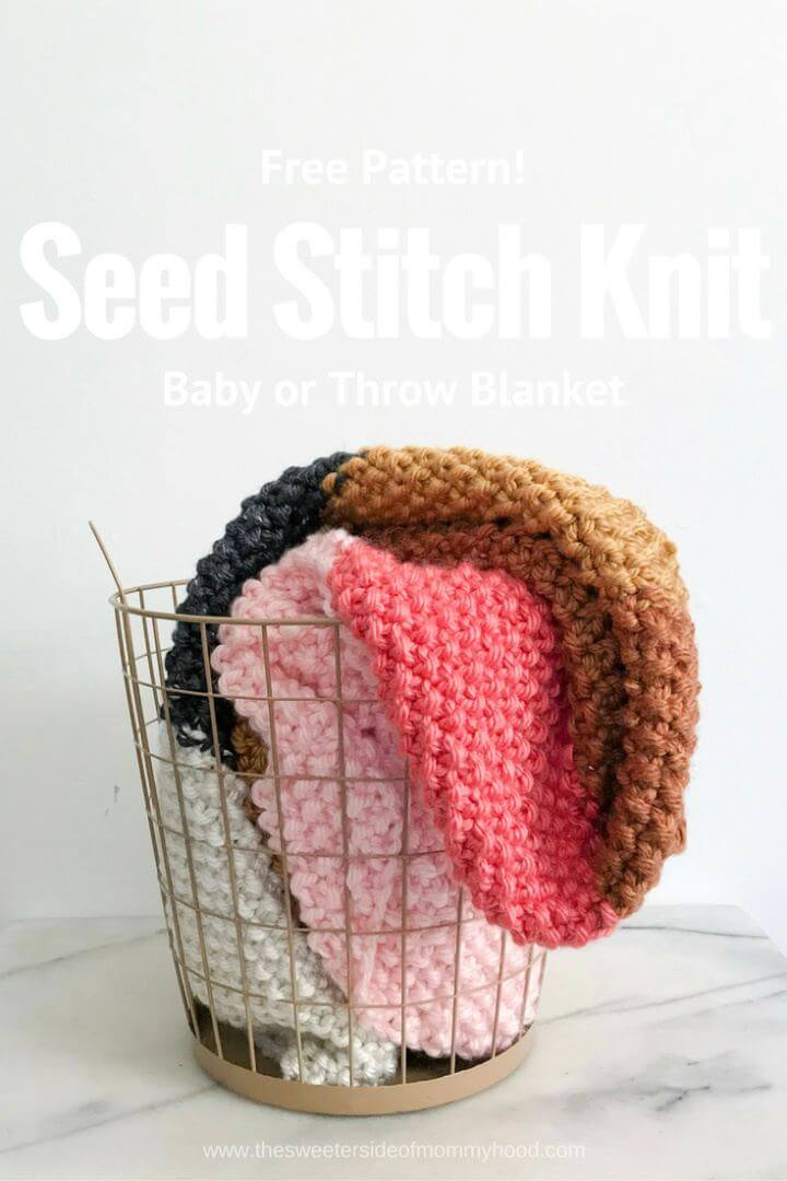Easy Fall Seed Stitch Knit Throw Or Baby Blanket
