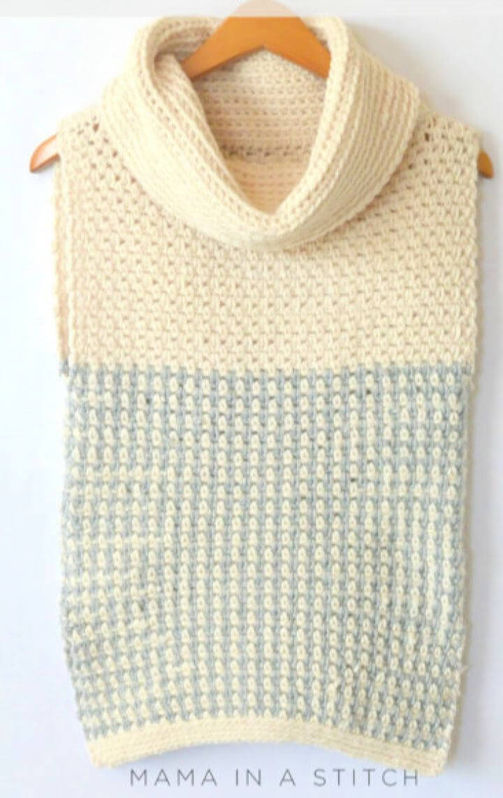Easy Free Crochet Cowled Sweater Vest