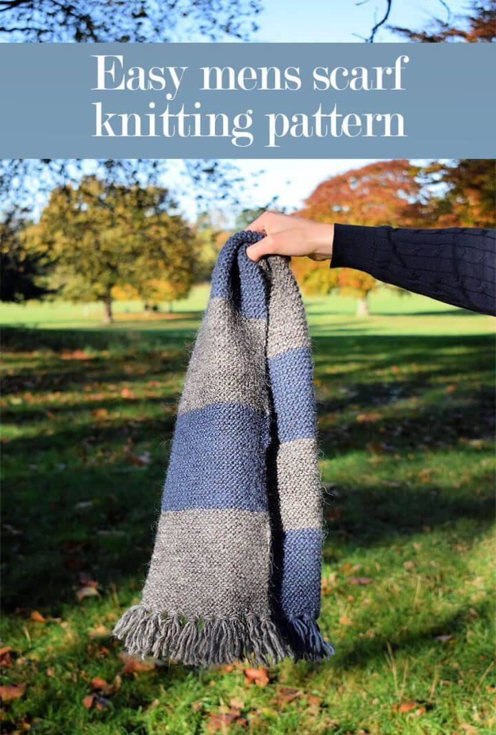 Easy Mens Scarf Knitting Pattern For Him