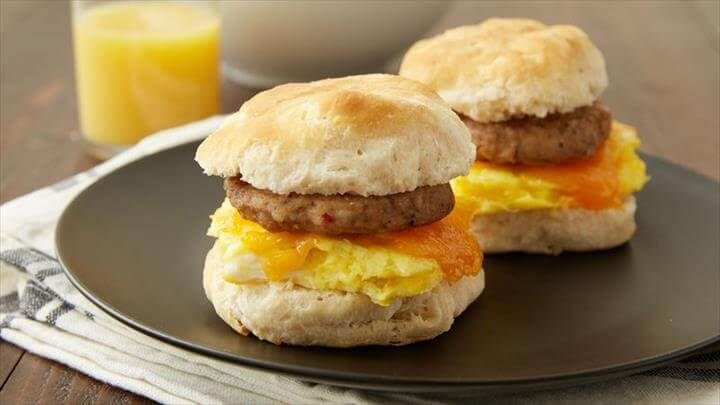 Sausage, Egg and Cheese Breakfast Sandwiches for Two