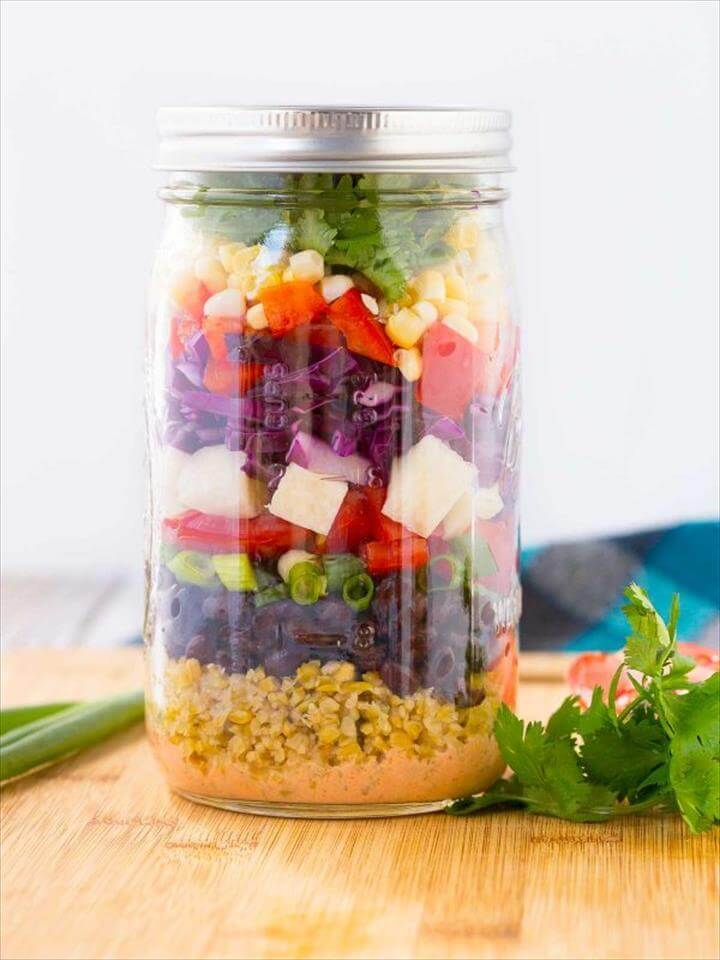 Southwestern Chopped Salad in Mason Jar
