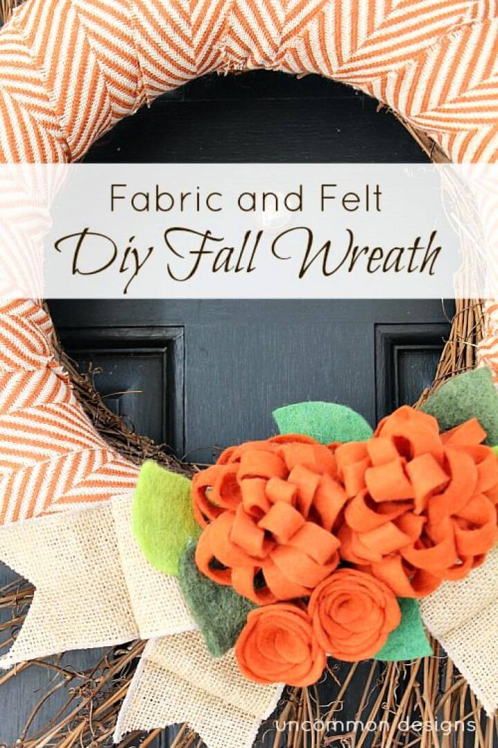 Fabric And Felt DIY Fall Door Wreath