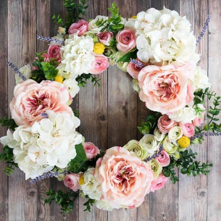 DIY Ideas With Faux Flowers - Faux Flower Wreath - Paper, Fabric, Silk and
