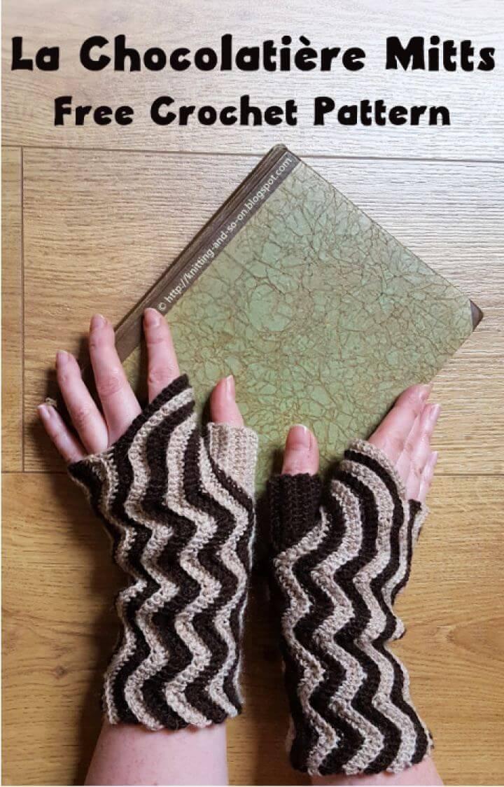 Free La Chocolatière Mitts Crochet Gloves
